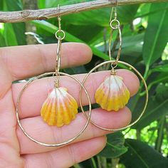 Sunrise Shell Earrings Gold Hammered Hoops by HanaMauiCreations, $135.00