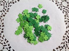4 leaf clover confetti, St Patty's day party, shamrock confetti , green confetti, by PinkyPromiseBargains on Etsy