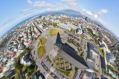 Flying high above Hallgrímskirkja, the largest church inReykjavík