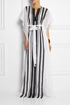 Oscar de la Renta | Striped crocheted cotton kaftan | NET-A-PORTER.COM