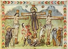 """earliest crucifixion in an illuminated manuscript, from the Syriac Rabbula Gospels, c 586, Jesus with the two thieves St. Dismas (""""good thief"""")  & Gestas (""""not so good"""" thief) , St. Longinus (piercing side of Christ with the spear) & Stephaton (Offering Jesus a sponge of vinegar to drink)"""