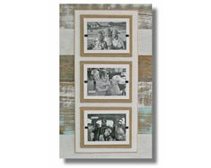 Triple white & sea mist washed Reclaimed Wood Picture Frame - three 4 x 6 pictures | best selling - family frame | rustic home decor #BarnWoodFrame #ShabbyChicFrame #BeachFrame #PictureFrame #CoastalFrame #RusticWoodFrame #RecycledFrame #ReclaimedWoodFrame #PalletWood #4X6 Picture Frame Sets, 10 Picture, Picture On Wood, Reclaimed Wood Picture Frames, Beach Frame, Cypress Wood, White Sea, Simple Pictures, Collage Frames