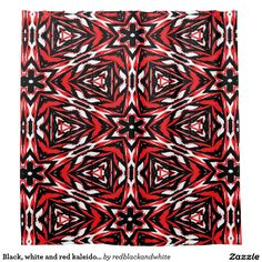 Black, white and red kaleidoscope 9070 shower curtain