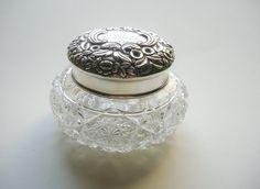 Sterling Silver Top Brilliant Cut Glass Dresser Jar by tantarosie