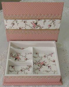 Artesanato em Mdf caixa rosa flora