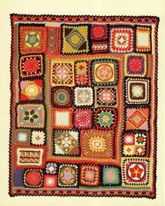 INSTANT DOWNLOAD PDF Vintage Crochet Pattern  for Granny Square Sampler Afghan Throw Blanket  Retro