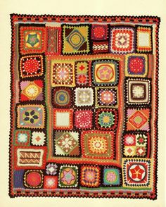 Vintage #crochet pattern for sampler #afghan    I think this is the 70s Better Homes and Gardens Sampler.
