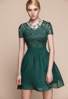 short sleeved green lace cocktail dress - Google Search