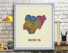Nigerian Art, Nigerian Art Print Map Lagos, Nigerian Wall Art, Nigerian Wall Travel Map Poster, Nigerian Pop Art Wall Decor AVAILABLE @ $15