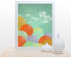 Up print  - 11x14 Poster wall art decor poster movie pixar disney balloons sky clouds children nursery wall decor art modern colorful