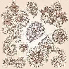 Henna mehndi doodles elementos de design estampada floral abstrato — Ilustração de Stock #13916397