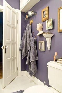 I like the wall color: Benjamin Moore French Violet Purple Bathrooms, Purple Rooms, Bathroom Colors, Purple Bathroom Paint, Plum Bathroom, Lavender Bathroom, Purple Walls, Bathroom Renos, Bathroom Renovations
