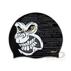 Angry face Gorilla swimming swim cap SD7 Black color
