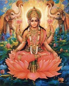 Lakshmi has two manifestations: Bhoodevi, the earth-goddess who bestows tangible wealth like the harvest and gold, and Shridevi, the celestial goddess who bestows intangible wealth like rulership and power.