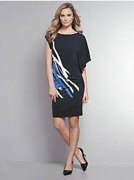 Side-Shirred Abstract Print Dress