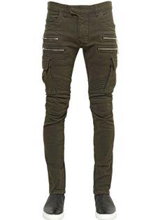 Balmain | Cotton Denim Cargo Biker Jeans.