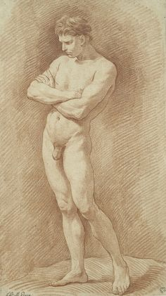 Naked Man Standing with Arms Crossed, by 1738, Edme Bouchardon, Red chalk. Harvard Art Museums/Fogg Museum, Gift of Jeffrey E. Horvitz.