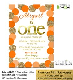 1st Birthday Invitation with shades of Autumn Orange featuring simulated Gold Glitter Dots  http://starliteprintables.indiemade.com/product/autumn-birthday-invitation-orange-gold-glitter-halloween-fall-season-birthday
