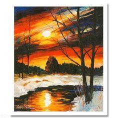 """Winter Sunset December"" by Leonid Afremov"