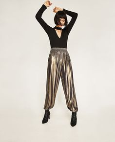 METALLIC FLOWING TROUSERS from Zara | haha, holy shit I need these trousers in my life like, yesterday.