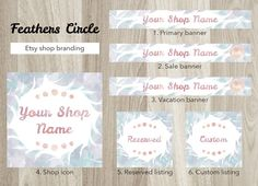 Etsy shop banner set, premade feather banner, watercolor feather, circle shop graphic, reserved custom listing, pastel color, blue banner by GiuliaBelfioriGadget