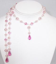Pink Pearl & Crystal Lariat Back Dangle Wedding by bonitaj on Etsy