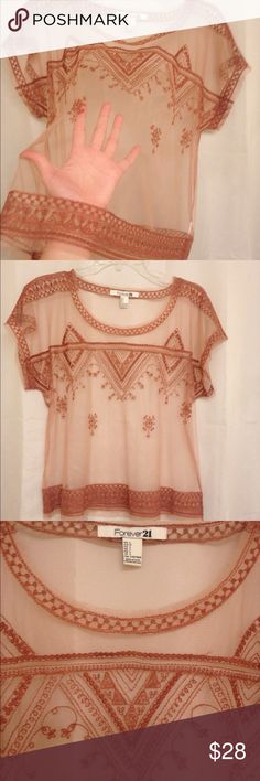 Forever 21 blouse NWOT blush nude mesh embroidered Gorgeous light mesh blouse. Sz L. Nude with nude/rose woven detail. Boxy fit. New without tags. No trades, will happily consider all reasonable offers  Forever 21 Tops Blouses
