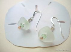 Seaglass Beach Glass White Earrings Lake Erie