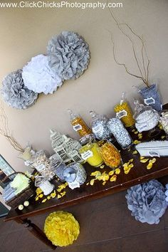 Tissue Pom Poms and Candy bar... Love the candy bar idea.. Tracy and I talked about this last week .. Simple but cute :)