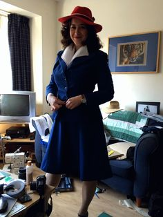Without A Stitch On: Peggy Carter Costume Progress - uses blue rayon crepe with Simplicity 3688 pattern as a base