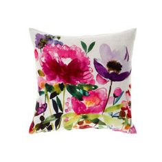 Anemone Floral Watercolor Pillow - bluebellgray