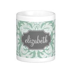 Mint and Gray Damask Pattern Custom Name mug