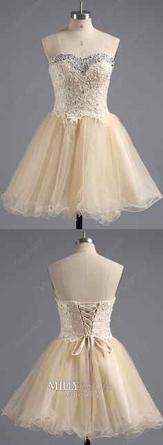 Champagne Homecoming Dresses Short, Modest Prom Dresses for Teens, Ball Gown Sweet 16 Dresses Lace, Sweetheart Graduation Party Dresses Tulle Vintage Formal Dresses, Dresses Elegant, Formal Dresses For Teens, Dresses Short, Formal Dresses For Weddings, Pretty Dresses, Beautiful Dresses, Champagne Homecoming Dresses, Vintage Homecoming Dresses