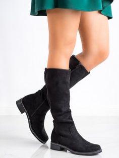 Čierne čižmy s kamienkami Knee Boots, Wedges, Booty, Ankle, Shoes, Fashion, Moda, Swag, Zapatos