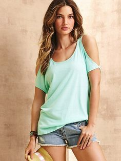 Cut-out Shoulder Tee from VS...next time I cut up & an old T for a workout shirt I'm doing it like this!