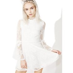 Lace Long Sleeve Skater Dress ($38) ❤ liked on Polyvore featuring dresses, white long-sleeve dresses, lace mini dress, short lace dress, white lace dress and white skater dress