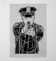 Mike Giant • Cop Killer Print • Print • Sold Art • Online street art Gallery • Galerie d'art urbain • www.soldart.com  #cops #target #shootingtarget #gun #mikegiant #giantone #screenprint #streetart #tattooartist #soldart #rebel8 #serigraphie #rebeleight #streetculture #print #artbasel #artbaselmiami #silkscreen #gallery #tattoo #tatoo