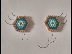 Brick Stitch Tutorial (french with english subtitles) Seed Bead Earrings, Beaded Earrings, Beaded Jewelry, Stud Earrings, Beading Tutorials, Beading Patterns, Christmas Jewelry, Brick Stitch, Beads And Wire