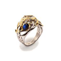 Ring mit Spectrolite Jewellery, Sapphire, Gold Paint, Dark Blue, Beads, Silver, Ring, Jewels, Schmuck