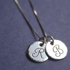 Jessie Girl Jewelry - Mother's Necklace, Children's Initials, Custom Initial Charms, Sterling Silver Hand Stamped, $27.00 (http://www.jessiegirljewelry.com/mothers-necklace-childrens-initials-custom-initial-charms-sterling-silver-hand-stamped/)