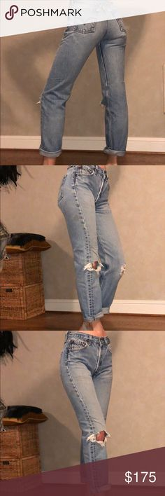 """Vintage Mom jeans I am in love with these!! 😍 ripped knees and distressed vintage jeans these are. Rare find. Measurements below:  Waist: 12.75"""" across or just under 26"""" around Rise: 18.75"""" across or slightly under 38"""" around Hips: 28"""" Inseam: 28"""" Vintage Jeans"""
