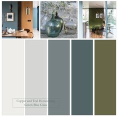 This Farrow and Ball colour palette of grey blues and olive green was inspired by the beautiful recycled glass oil bottles. Use the bottles in your home or garden - use the colours in your home for a calm, serene look. Olive Green Rooms, Blue Green Bedrooms, Blue And Green Living Room, Grey Bedroom Colors, Bedroom Colour Palette, Green Colour Palette, Bedroom Green, Interior Color Schemes, Living Room Color Schemes
