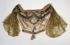 Ensemble House of Worth (French, Designer: (c, d) Meier (French) Date: ca. 1899 Culture: French Medium: silk, rhinestones Dimensions: (a) Waist: 28 in. cm) (b) Length at CB: 79 in. cm) Credit Line: Gift of The Estate of Anne Morgan, 1952 Accession Number: 1890s Fashion, Edwardian Fashion, Vintage Fashion, Vintage Beauty, Charles Frederick Worth, Vintage Gowns, Mode Vintage, Vintage Style, Corset Bustier
