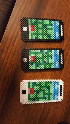 Pokemon go perler bead phones my daughter made