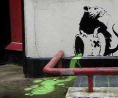 Sewer rat.    Banski art.