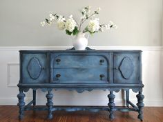 CUSTOM Order for Christine -  SOLD - Hand Painted Cottage Chic Shabby Romantic Vintage Victorian Jacobean Antique Blue Sideboard Buffet