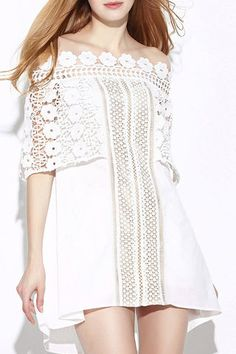 White Off The Shoulder Hollow Lace Dress