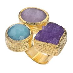 Amazon.com: 18K Gold Plate, Druzy & Quartz Floating Ring: Jewelry