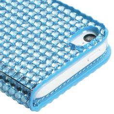 Rhinestone Wallet Case for Apple iPhone 5C, Light Blue Full Diamond