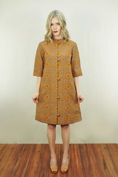 Vtg 60s 70s Cotton Ethnic Burnout Hippie Sun Flower Tunic Dress Jacket Coat M | eBay